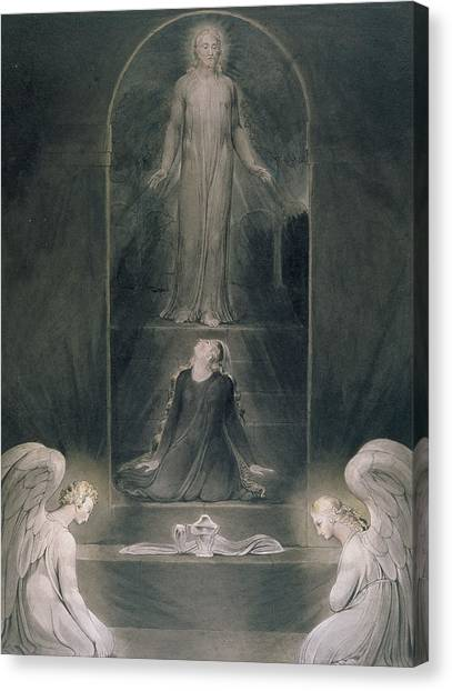 Apparition Canvas Print - Mary Magdalene At The Sepulchre by William Blake