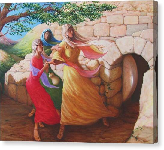Mary Magdalene Discovering The Empty Tomb Canvas Print