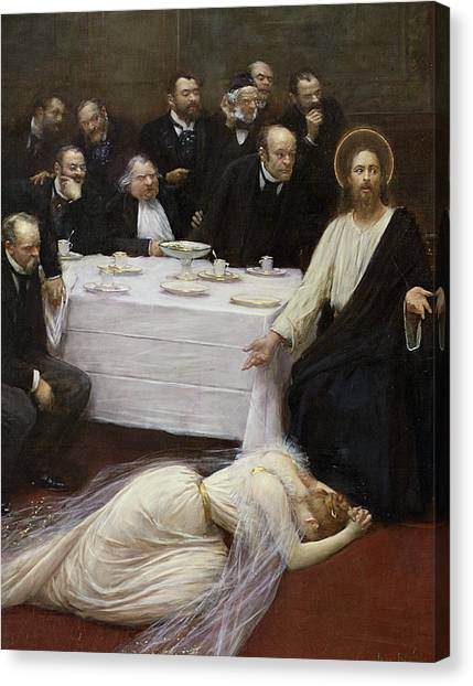 Dinner Table Canvas Print - Mary Magdalene In The House Of The Pharisee by Jean Beraud