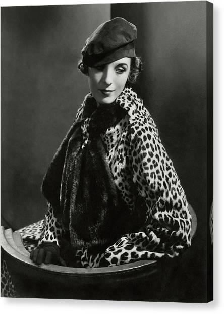 Mary Oakes Wearing Revillon Freres On A Chair Canvas Print