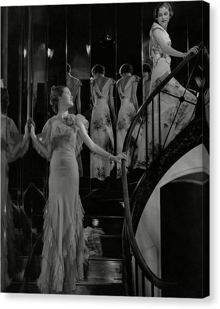 Mary Taylor And Anne Whitehead On A Staircase Canvas Print by Edward Steichen