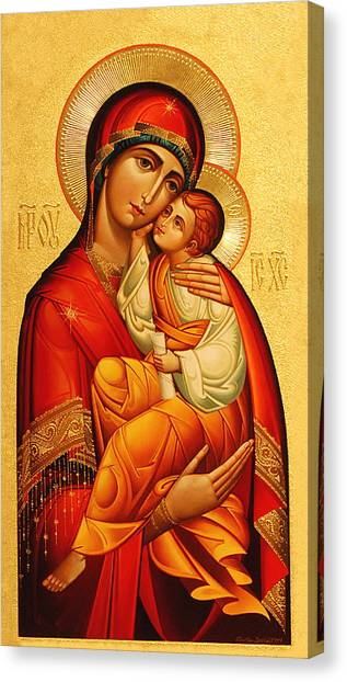 Mosaic Canvas Print - Mary The God Bearer by Philip Ralley