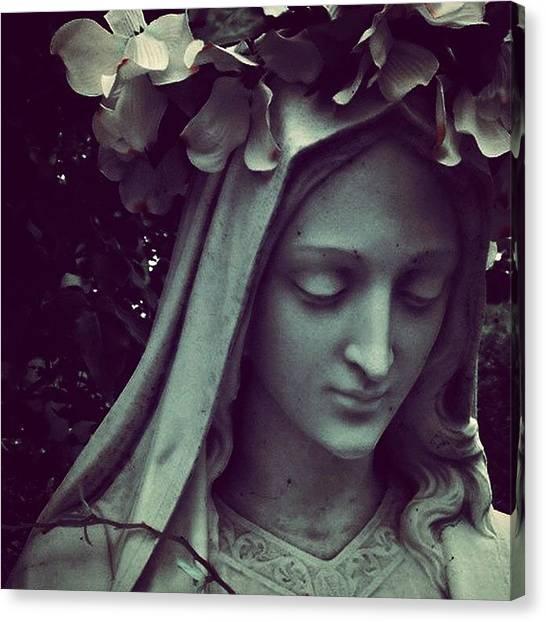 Wreath Canvas Print - #mary #wreath #flower #flowers #shroud by Kerri Ann Crau