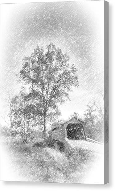 Maryland Covvered Bridge In Pencil Canvas Print