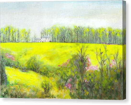 Maryland Landscape Springtime Rt40 East Original Painting Canvas Print