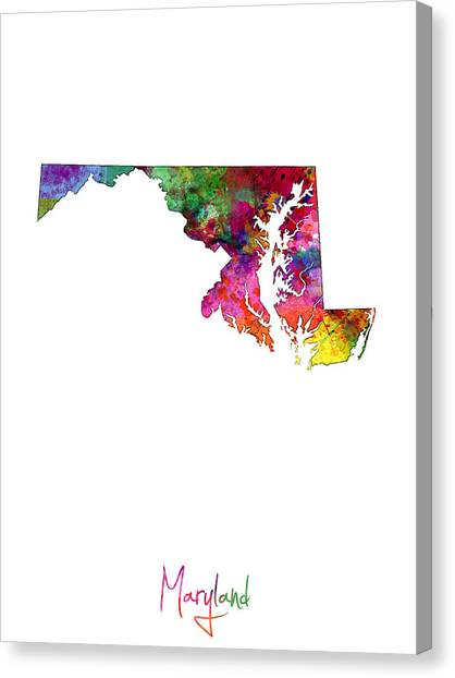 Maryland Canvas Print - Maryland Map by Michael Tompsett
