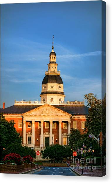 City Sunsets Canvas Print - Maryland State House At Sunset by Olivier Le Queinec
