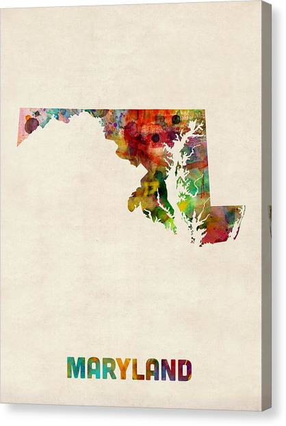 Maryland Canvas Print - Maryland Watercolor Map by Michael Tompsett