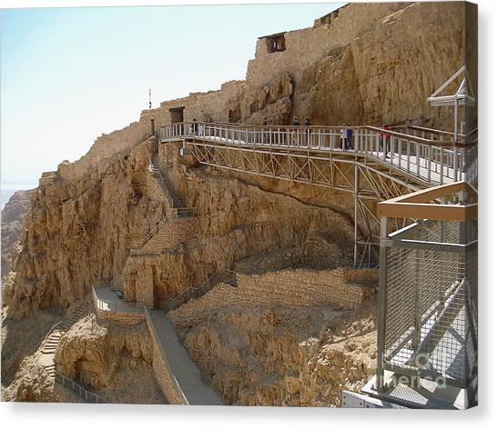 Masada. Israel. The Bridge To The Top Of Masada. Canvas Print