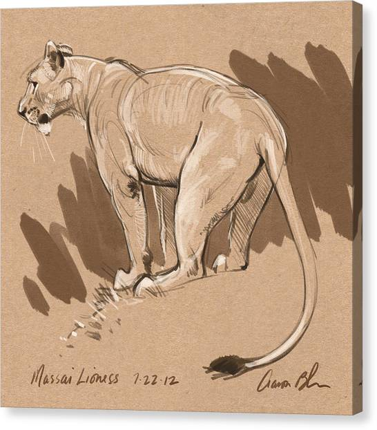 Lions Canvas Print - Masai Lioness by Aaron Blaise
