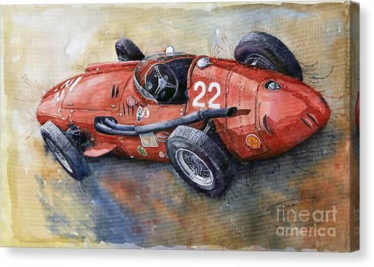 Classic Cars Canvas Print - Maserati 250 F 1957  by Yuriy Shevchuk