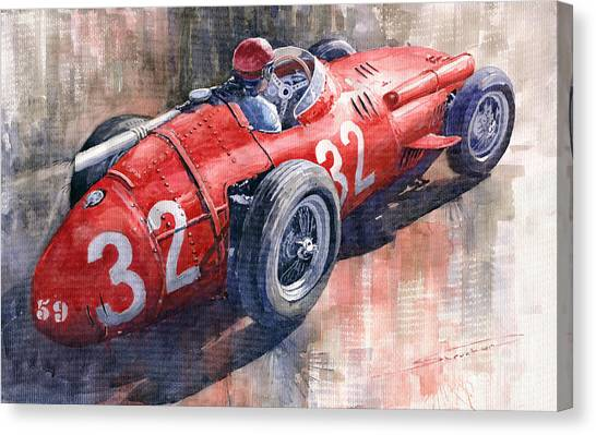 Sports Cars Canvas Print - Maserati 250f J M Fangio Monaco Gp 1957 by Yuriy Shevchuk