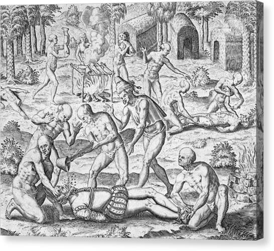 Venezuelan Canvas Print - Massacre Of Christian Missionaries by Theodore De Bry