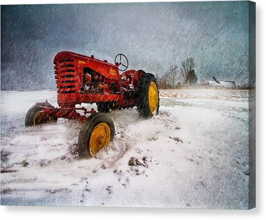 Winter Storm Canvas Print - Massey Harris Mustang by Bob Orsillo
