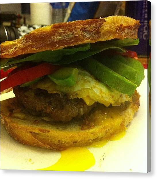 Spinach Canvas Print - Massive Homemade Burger #avocado by Christine Agoni