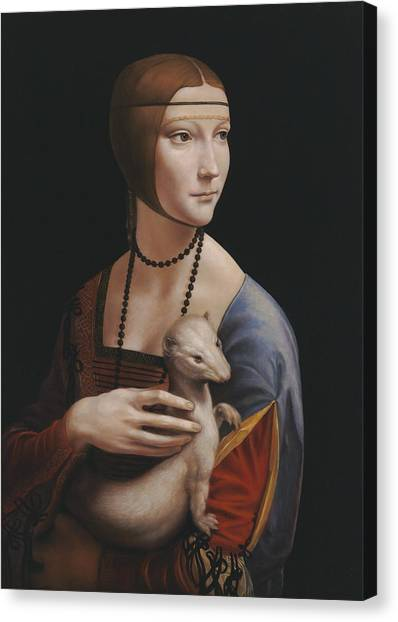 The Uffizi Gallery Canvas Print - Master Copy Of Da Vinci Lady With An Ermine by Terry Guyer