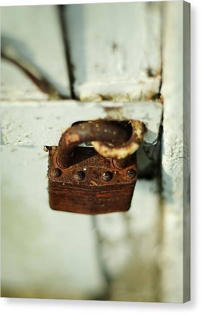 Rustic Canvas Print - Master Lock by Rebecca Sherman