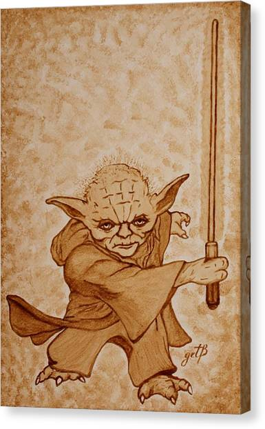 Canvas Print featuring the painting Master Yoda Jedi Fight Beer Painting by Georgeta  Blanaru
