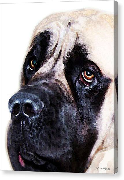 Mastiffs Canvas Print - Mastiff Dog Art - Sad Eyes by Sharon Cummings