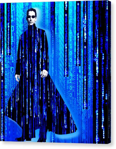 Keanu Reeves Canvas Print - Matrix Neo Keanu Reeves 2 by Tony Rubino