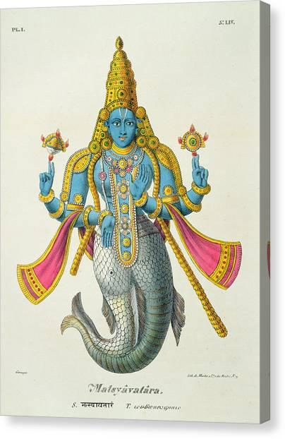 God Canvas Print - Matsyavatara Or Matsya, From Linde by A. Geringer
