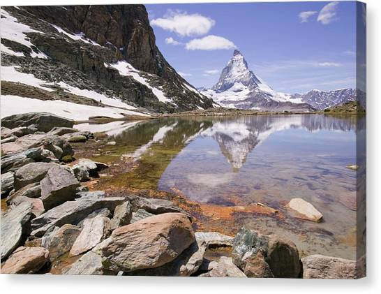 Matterhorn Canvas Print - Matterhorn Reflected In A Mountain Lake by Ashley Cooper