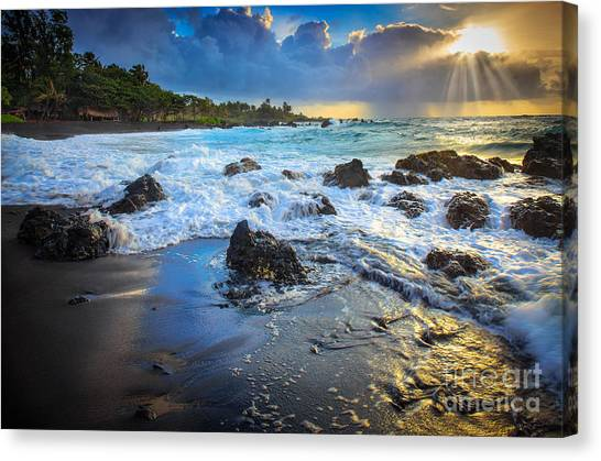 Splashy Canvas Print - Maui Dawn by Inge Johnsson
