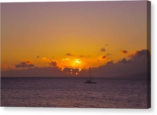 Maui Sailboat Sunset Canvas Print