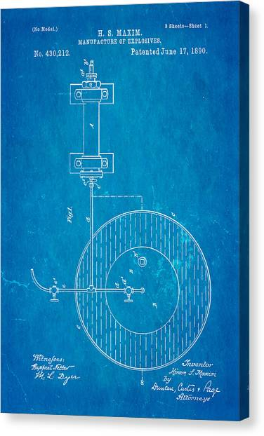 Nra Canvas Print - Maxim Explosives Patent Art 1890 Blueprint by Ian Monk