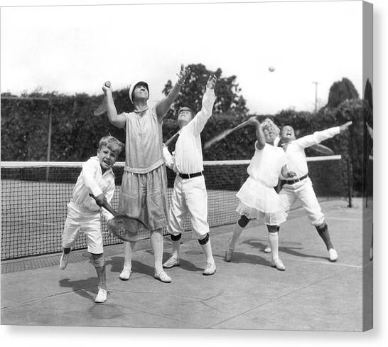 Tennis Racquet Canvas Print - May Bundy And Her Proteges by Underwood Archives