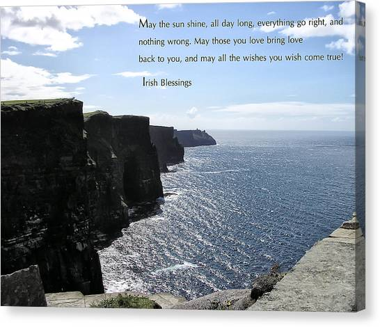 The Cliffs Of Moher Canvas Print - May The Sun Shine All Day Long by Bill Cannon
