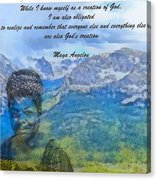 Racism Canvas Print - Maya Angelou Tribute by Dan Sproul