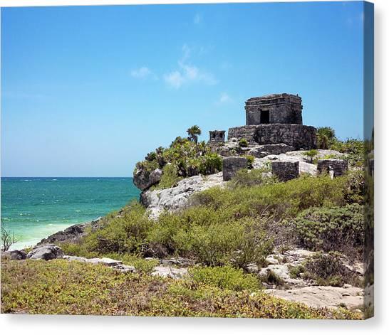 Mayan Temple Canvas Print by Daniel Sambraus/science Photo Library