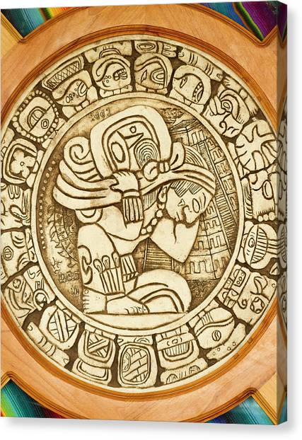 Belize Canvas Print - Mayan Woodcarving, Belize by William Sutton