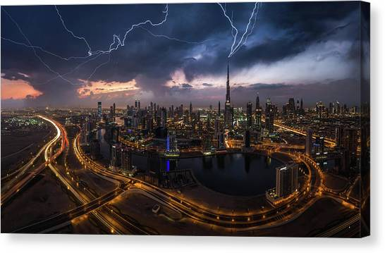 Dubai Skyline Canvas Print - Maybe Lightning Strike Twice by Khalid Jamal