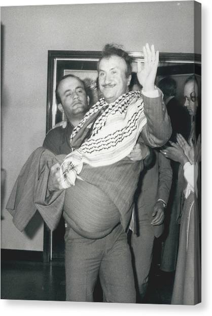 Mayor Of Israeli Occupied Nablus Arrives In London For Canvas Print by Retro Images Archive