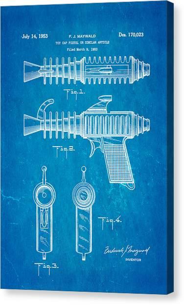 Nra Canvas Print - Maywald Toy Cap Gun Patent Art 1953 Blueprint by Ian Monk
