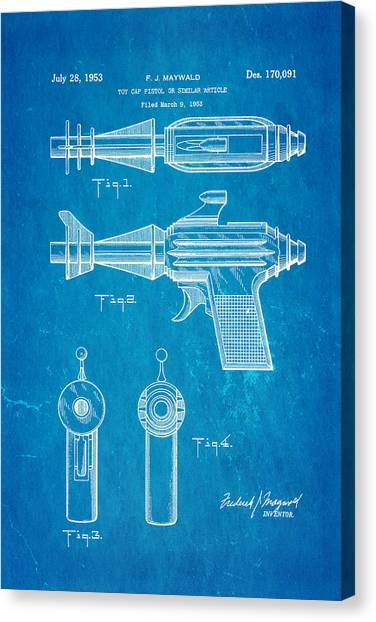 Nra Canvas Print - Maywald Toy Cap Gun Patent Art  2 1953 Blueprint by Ian Monk