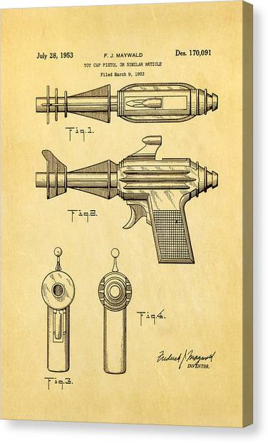Nra Canvas Print - Maywald Toy Cap Gun Patent Art  2 1953 by Ian Monk