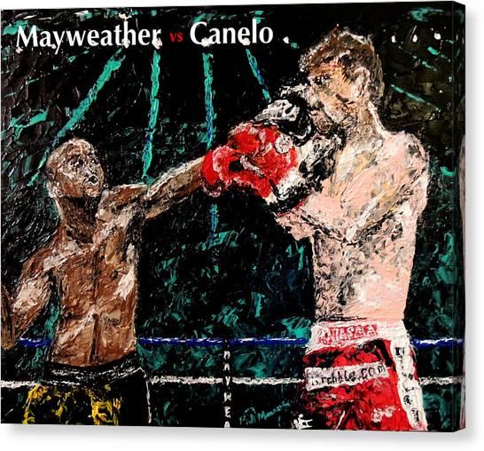 Floyd Mayweather Canvas Print - Mayweather Vs Canelo by Mark Moore