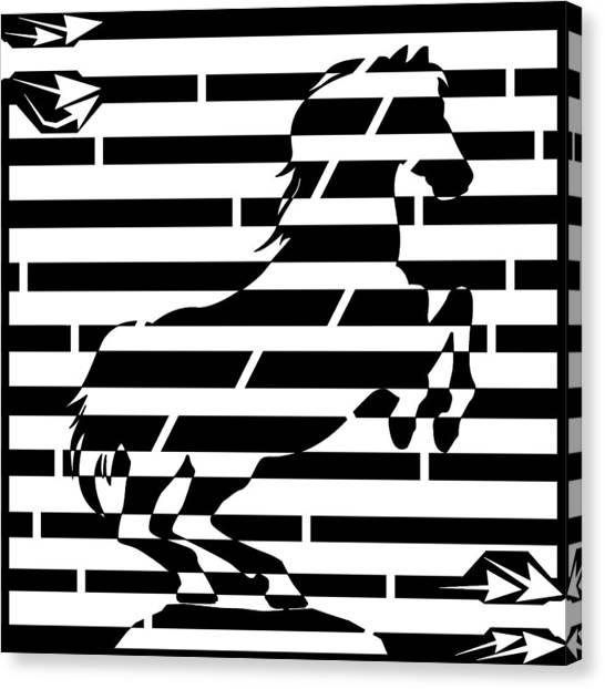 Maze Of 746 Watts 1 Horsepower Maze  Canvas Print by Yonatan Frimer Maze Artist