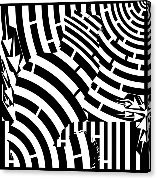 Maze Of Cat On Fence Op Art Canvas Print by Maze Op Art Artist