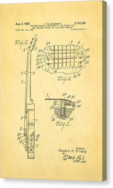 Household Canvas Print - Mccarty Gibson Les Paul Guitar 2 Patent Art 1955 by Ian Monk