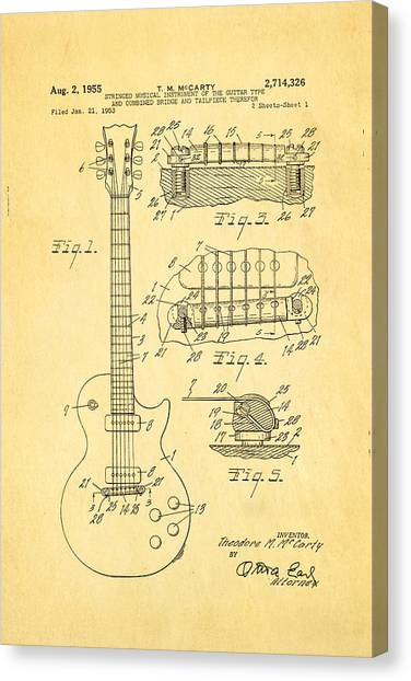 Household Canvas Print - Mccarty Gibson Les Paul Guitar Patent Art 1955 by Ian Monk