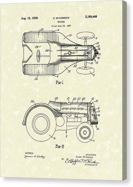Mccormick Tractor 1939 Patent Art Canvas Print by Prior Art Design