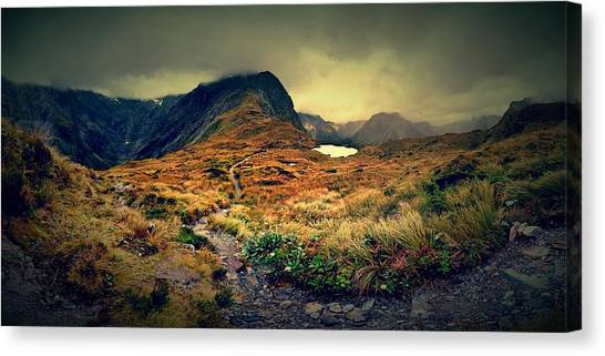 Track Canvas Print - Mckinnon's Pass Panorama by Freya Doney