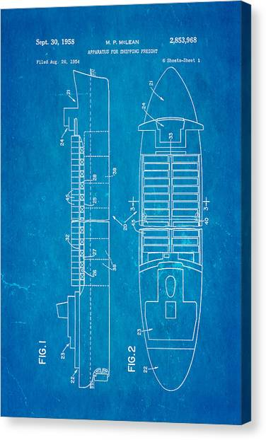 Freight Canvas Print - Mclean Shipping Container Patent Art 1958 Blueprint by Ian Monk