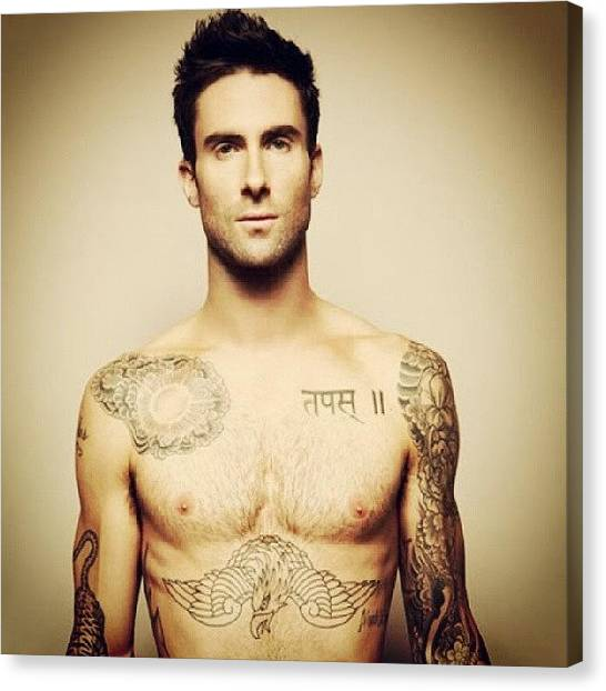 Tattoo Canvas Print - #mcm #mancrushmonday #adamlevine #sexy by Theresa Collins
