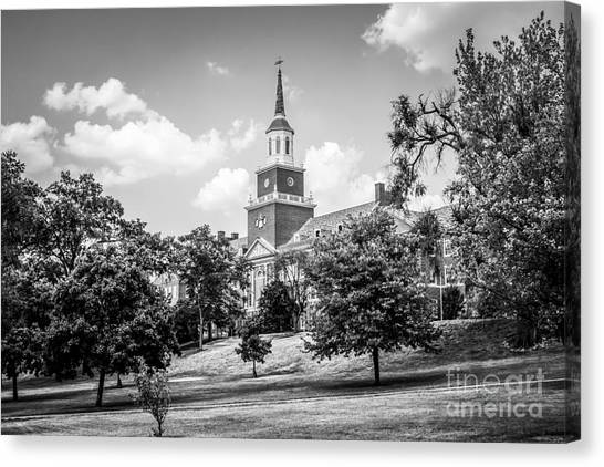 University Of Cincinnati Canvas Print - Mcmicken College Black And White Picture by Paul Velgos