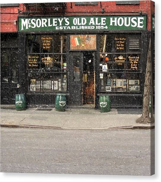 Mcsorley's Old Ale House During A Snow Storm Canvas Print